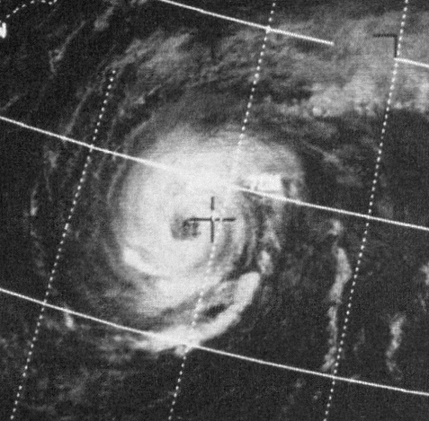 Hurricane Ginger on Sept. 27. 1971 between seeding days (NOAA)