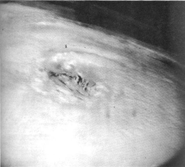 Hurricane Debbie's eye as seen from Mercury-Atlas 4 unmanned spacecraft. (NASA)
