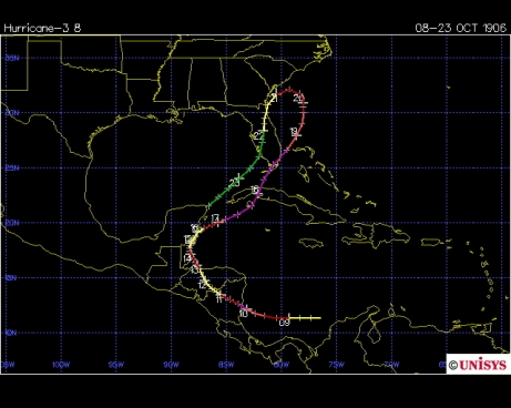 Track of 1906 Florida Keys hurricane (Unisys)