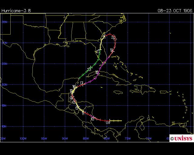Track of 1906 Florida Keys hurricane (Unisys)