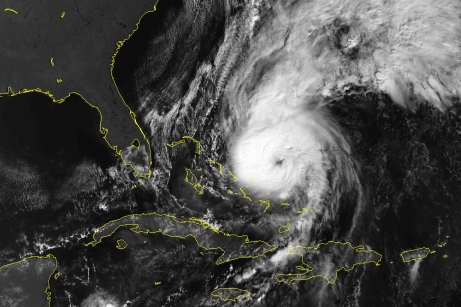 Hurricane Lili at Catagory 3 status east of the Bahamas, Oct. 19, 1996 (NOAA)