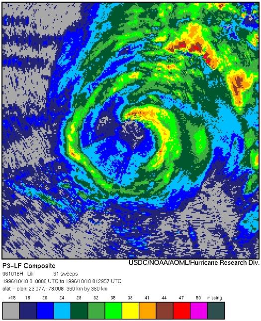 NOAA 42 lower fuselage radar depiction of Hurricane Lili at 01:30 UTC Oct. 19, 1996 (NOAA/AOML/HRD)