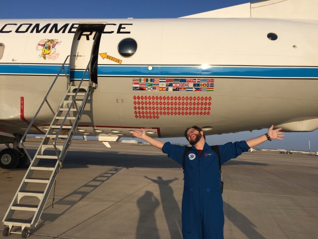 Brad Klotz celebrates the end of missions into Hurricane Matthew