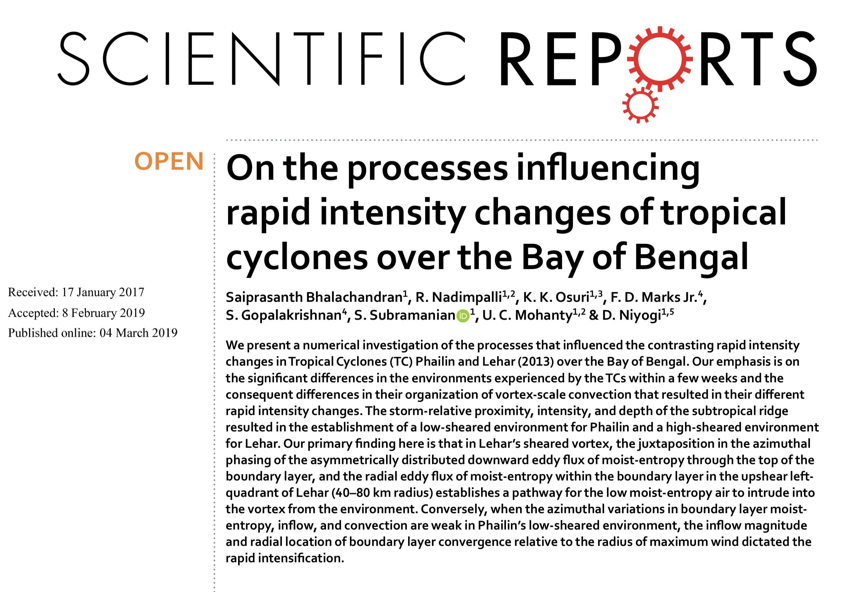 Paper on rapid intensity change in the Bay of Bengal